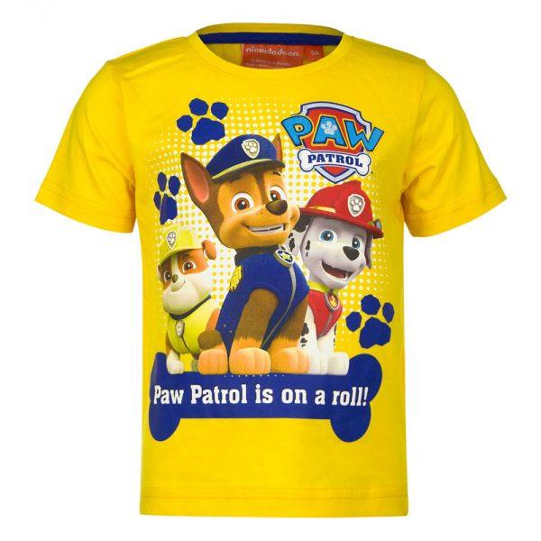 Paw Patrol t-shit gele uitvoering met ronde hals